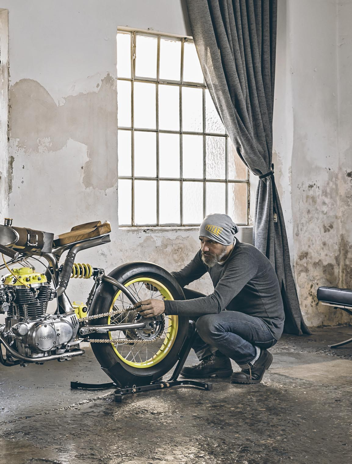 motorcycles_custom_honda_self_built_crazy_yellow_titan_side_guy